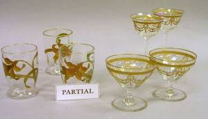 Set of Nine Enamel Floral Decorated Glass Tumblers a Set of Twelve Gilt Decorated Glass Sherbets and Five Wines