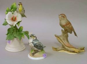 Three Boehm and Boehmtype Handpainted Porcelain Bird Figural Groups