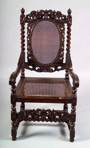 Jacobeanstyle Carved Mahogany and Caned Great Chair