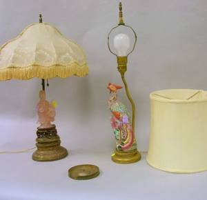 Chinese Carved Hardstone Figural Table Lamp with Giltmetal Base and a Chinese Glazed Porcelain Peacock Figural Table Lamp