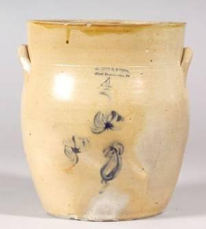 Cobalt Blue Decorated Stoneware Jar