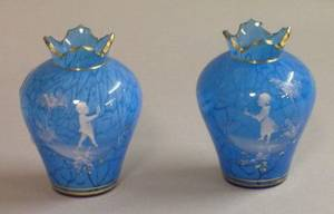 Pair of Mary Gregory Enamel Decorated Mottled Blue Glass Vases