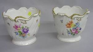 Pair of Herend Handpainted Floral Decorated Porcelain Cache Pots