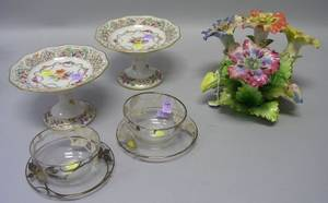 Italian Pottery Floral Centerpiece Pair of Bavarian Reticulated Porcelain Tazzae and a Pair of Silver Overlay Colorless Glass Finger