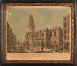 Two color engravings of the Royal Exchange London