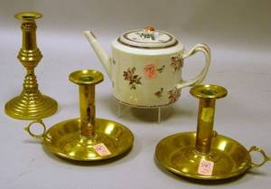 Chinese Export Porcelain Teapot a Pair of Brass Chambersticks and a Candlestick