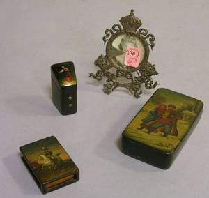 Russian Decorated Lacquer Needlecase Matchbox Sleeve and Small Lidded Box and a Small Sterling Silver Table Frame