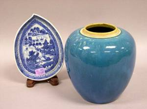 Chinese Export Canton Porcelain Shaped Dish and a Chinese Turquoise Glazed Vase