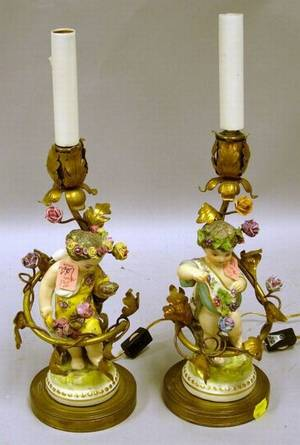 Pair of Giltmetal Mounted Porcelain Figural Candlestick Table Lamp Bases