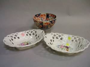 Pair of Paris Porcelain Handpainted Floral Decorated Reticulated Baskets and an Imari Bowl