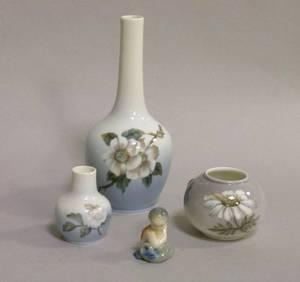Royal Copenhagen Porcelain Bottle Vase Two Small Vases and a Small Figure