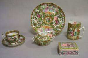 Chinese Export Porcelain Rose Medallion Mug Plate Covered Cup Cup and Saucer and an Export Box