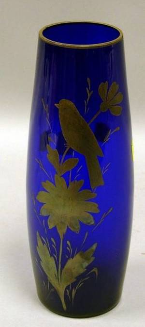 Czechoslovakian Silver Resist Decorated Cobalt Blue Glass Vase