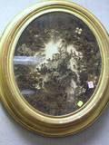 Victorian Oval Giltwood Framed Hair Floral Still Life