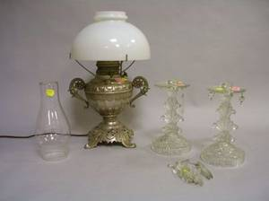 Pair of Colorless Pressed Glass Lustres and a Rayo Nickeled Kerosene Lamp with Shade