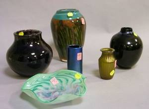 Five Pieces of Contemporary Studio Art Glass and a Loetz Iridescent Green Glass Vase