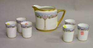 Handpainted Art Deco Floral Decorated Porcelain Pitcher with Six Tumblers