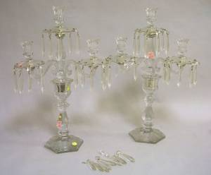 Pair of Etched Colorless Glass ThreeSocket Candelabra Lustres