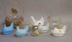 Set of Twelve Reversepainted Bird Decorated Frosted Glass Plates a Collection of Eight Glass HenonBaskets and a Silver Plated Owl
