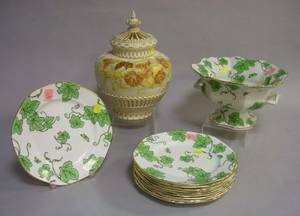 ElevenPiece Whieldon Vine Pattern Salad Set and a Royal Worcester Floral Decorated Porcelain Potpourri with Covers