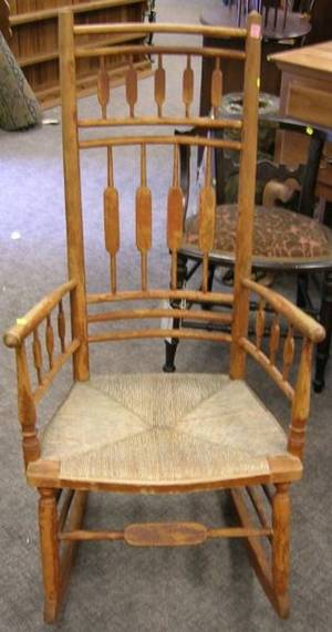 Red Stained Tall Arrowback Armrocker with Woven Rush Seat