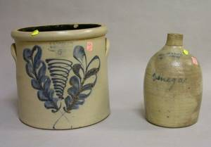 FB Norton  Co Cobalt Floral Decorated FiveGallon Stoneware Crock and a Cornell  Son Newport Cobalt Vinegar Labeled Stoneware J
