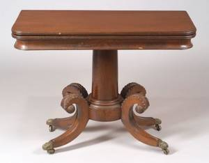 Classical Carved Mahogany Pedestalbase Card Table