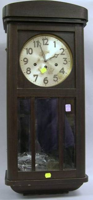 German Beechwood and Beveled Glass Chiming Wall Timepiece