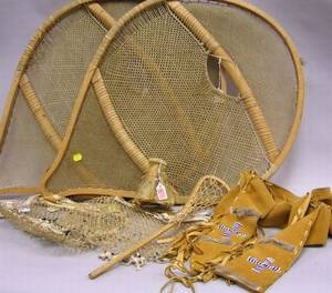 Seven Assorted Native American Hide and Wooden Articles