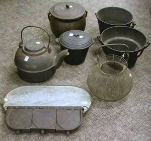 Eight Cast Iron Wire and Stone Hearth and Kitchen Items