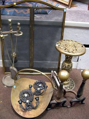 Pair of Brass and Cast Iron Andirons an Owl Tool Set Brass Log Carrier a Pair of Iron Sconces a Brass Stand and Two Wire Fireplace