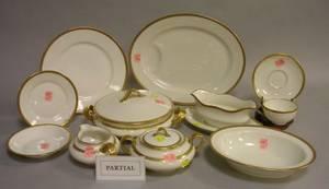 Sixtythree Piece Haviland Limoges Gilt Banded Porcelain Partial Dinner Service