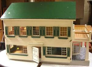 Painted Wooden Doll House with a Collection of Plastic Doll House Furniture