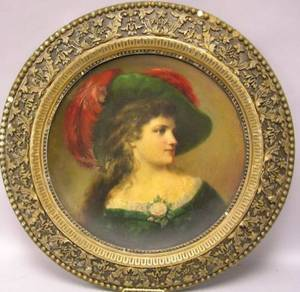 Framed Round Mixed Media Portrait of a Lady in a Plumed Hat