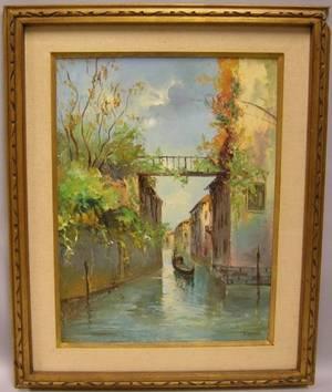 Framed Oil of a Venetian Canal