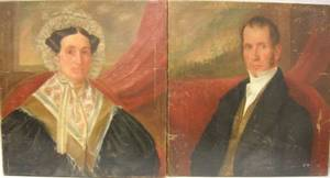 Pair of Unframed American School Oil on Canvas Portraits of a Man and a Woman