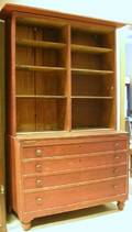 Red Stained Country Pine Twopart DeskBookcase