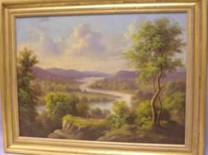 Framed Oil Expansive Landscape with a Figure
