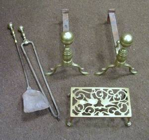 Pair of Brass Belted Balltop Andirons a Pair of Matching Tools and a Hearth Trivet