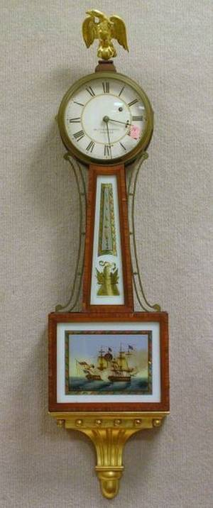 Walter H Durfee Federalstyle Carved Giltwood Mahogany and ReversePainted Banjo Wall Timepiece