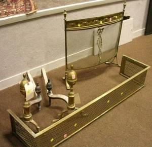 Pair of Brass Faceted Lemontop Andirons a Neoclassical Brass Fireplace Screen and a Pierced Brass Fender