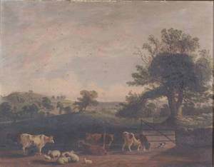 Framed Oil Farm Landscape with Cattle and Sheep