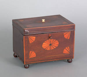 Hepplewhite mahogany tea caddy ca 1810