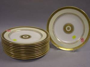 Set of Six Mintons Gilt Decorated Porcelain Service Plates