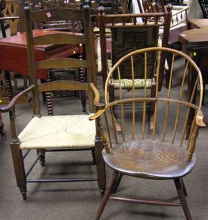 Windsor Sackback Armchair and a Birch and Tiger Maple Ladderback Armchair