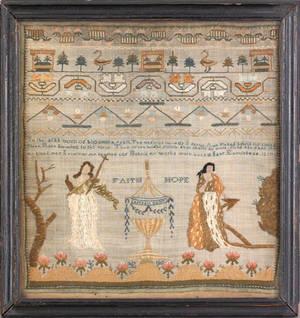 Silk on silk memorial needlework ca 1810