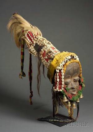 African Carved Wood Mask and Elaborate Headdress