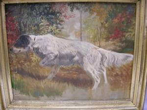 Framed Oil on Canvas Depicting a Pointer in a Landscape
