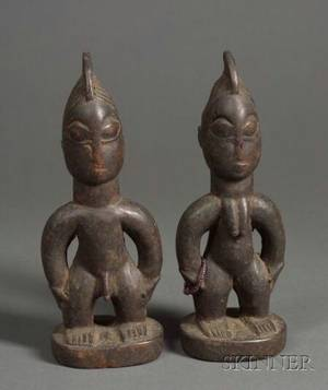 Pair of African Carved Wood Ibeji Dolls