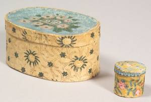 Two Small Wallpaper Covered Band Boxes
